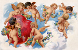 Thumbnail Seven angels hovering around a red Valentine heart in the clouds