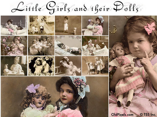 12 Vintage Clip Art Photos of Little Girls and Their Dolls