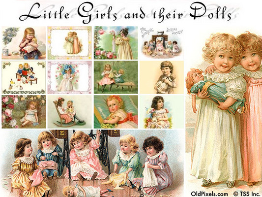 Pay for 12 Vintage Clip Art Illustrations of Little Girls & Dolls