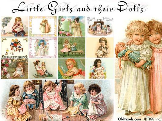 Pay for 12 Vintage Clip Art Illustrations of Little Girls & Dolls