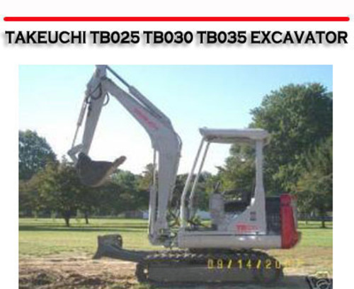 Free TAKEUCHI TB025 TB030 TB035 EXCAVATOR WORKSHOP REPAIR MANUAL Download thumbnail