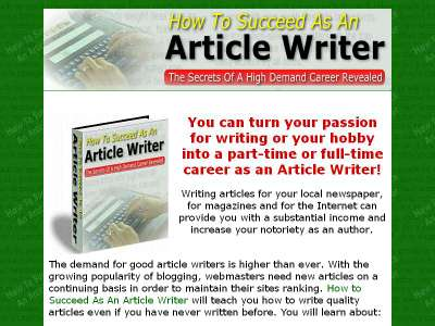 Pay for How To Succeed As An Article Writer