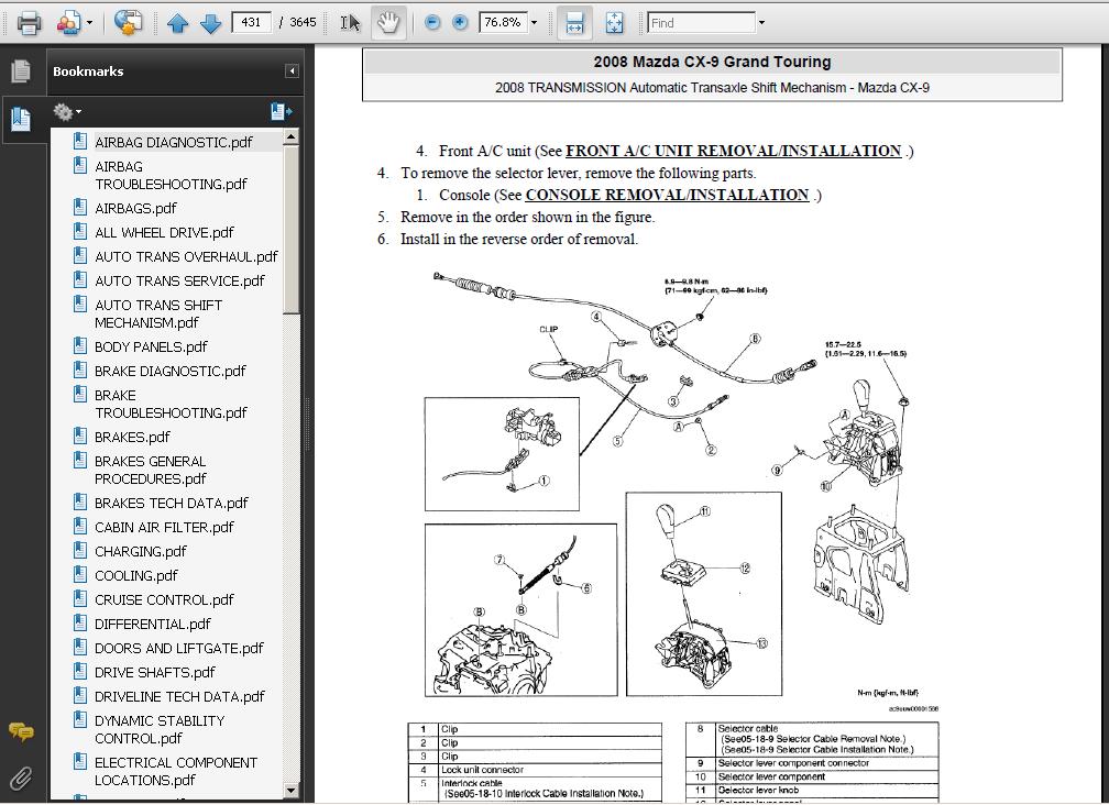 Mazda Cx9 Cx-9 2007-2009 Service Repair Manual Download
