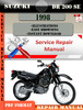 Thumbnail Suzuki DR 200 SE 1998 Digital Service Repair Manual