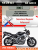 Thumbnail Suzuki GS 500 E 2007 Digital Factory Service Repair Manual