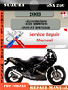Thumbnail Suzuki GSX 250 2003 Digital Factory Service Repair Manual