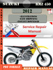 Thumbnail Suzuki RMZ 450 2012 Digital Factory Service Repair Manual