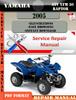 Thumbnail Yamaha ATV YFM 50 Raptor 2005 Digital Service Repair Manual