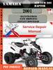 Thumbnail Yamaha ATV YFM 660 Raptor 2001 Digital Service Repair Manual