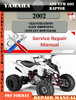 Thumbnail Yamaha ATV YFM 660 Raptor 2002 Digital Service Repair Manual