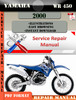 Thumbnail Yamaha WR450 2000 Digital Service Repair Manual