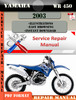 Thumbnail Yamaha WR450 2003 Digital Service Repair Manual