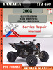 Thumbnail Yamaha YFZ 450 2008 Digital Service Repair Manual