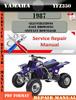 Thumbnail Yamaha YFZ350 1987 Digital Service Repair Manual