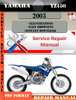 Thumbnail Yamaha YZ450 2003 Digital Service Repair Manual
