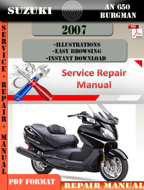 Free Suzuki AN 650 Burgman 2007 Digital Service Repair Manual Download thumbnail