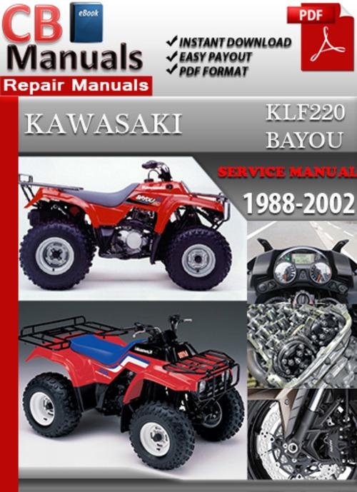kawasaki klf220 bayou 1988 2002 online service repair manual down rh tradebit com Kawasaki Engine Parts Kawasaki Engines