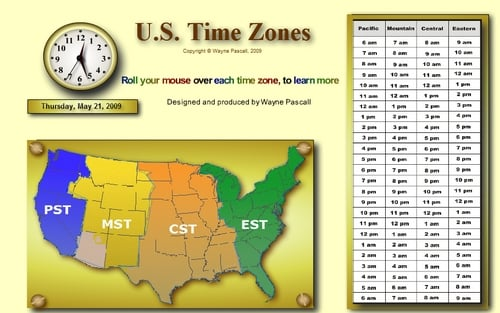 Time Zones of The United States - Download Flash