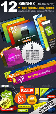 Pay for 12 BANNERS - 4 Sizes + Tags, Ribbons, Buttons and More