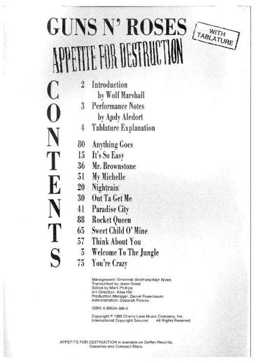 Pay for Guns N Roses - Appetite For Destruction Sheet Music (Songbook)