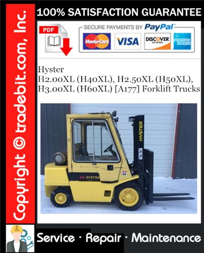 Thumbnail Hyster H2.00XL (H40XL), H2.50XL (H50XL), H3.00XL (H60XL) [A177] Forklift Trucks Service Repair Manual Download ★