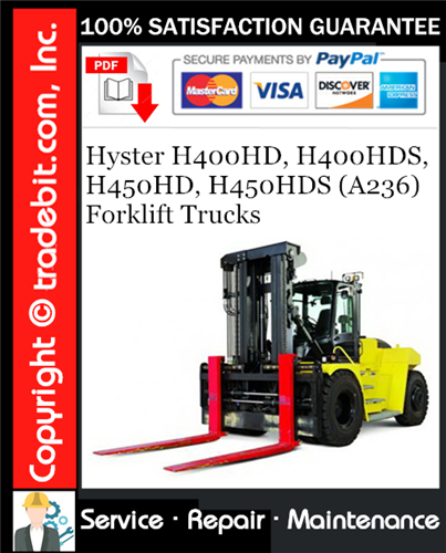 Thumbnail Hyster H400HD, H400HDS, H450HD, H450HDS (A236) Forklift Trucks Service Repair Manual Download ★