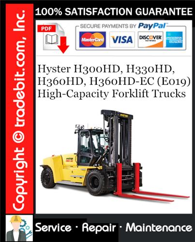 Thumbnail Hyster H300HD, H330HD, H360HD, H360HD-EC (E019) High-Capacity Forklift Trucks Service Repair Manual Download ★