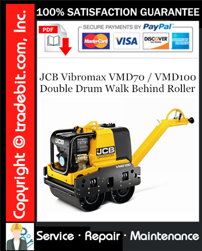 Thumbnail JCB Vibromax VMD70 / VMD100 Double Drum Walk Behind Roller Service Repair Manual Download ★