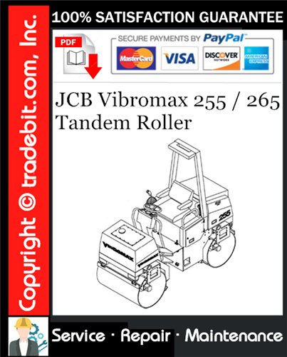Thumbnail JCB Vibromax 255 / 265 Tandem Roller Service Repair Manual Download ★