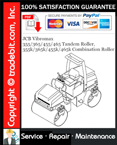 Thumbnail JCB Vibromax 355 / 365 / 455 / 465 Tandem Roller, 355k / 365k / 455k / 465k Combination Roller Service Repair Manual Download ★