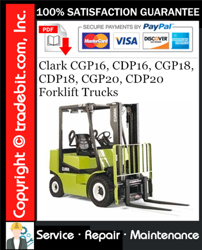 Thumbnail Clark CGP16, CDP16, CGP18, CDP18, CGP20, CDP20 Forklift Trucks Service Repair Manual Download ★
