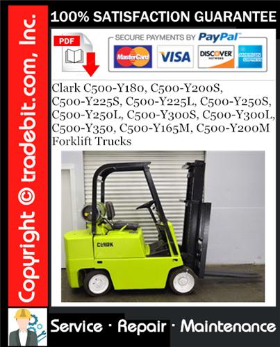 Thumbnail Clark C500-Y180, C500-Y200S, C500-Y225S, C500-Y225L, C500-Y250S, C500-Y250L, C500-Y300S, C500-Y300L, C500-Y350, C500-Y165M, C500-Y200M Forklift Trucks Service Repair Manual Download ★