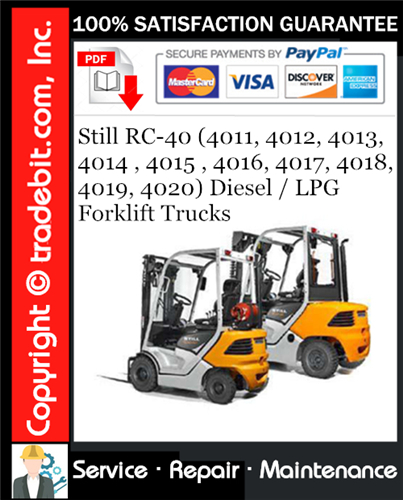 Thumbnail Still RC-40 (4011, 4012, 4013, 4014 , 4015 , 4016, 4017, 4018, 4019, 4020) Diesel / LPG Forklift Trucks Service Repair Manual Download ★