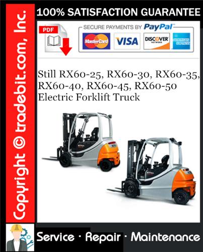 Thumbnail Still RX60-25, RX60-30, RX60-35, RX60-40, RX60-45, RX60-50 Electric Forklift Truck Service Repair Manual Download ★