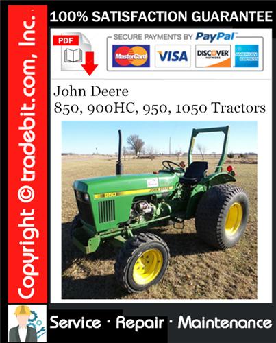 Thumbnail John Deere 850, 900HC, 950, 1050 Tractors Service Repair Manual Download ★