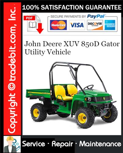 Thumbnail John Deere XUV 850D Gator Utility Vehicle Service Repair Manual Download ★