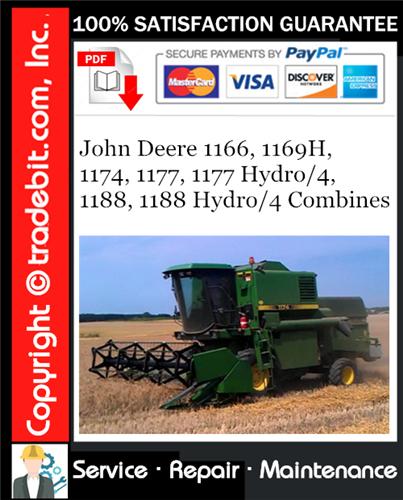 Thumbnail John Deere 1166, 1169H, 1174, 1177, 1177 Hydro/4, 1188, 1188 Hydro/4 Combines Service Repair Manual Download ★