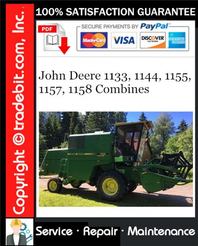 Thumbnail John Deere 1133, 1144, 1155, 1157, 1158 Combines Service Repair Manual Download ★