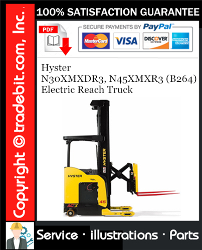 Thumbnail Hyster N30XMXDR3, N45XMXR3 (B264) Electric Reach Truck Parts Manual Download ★
