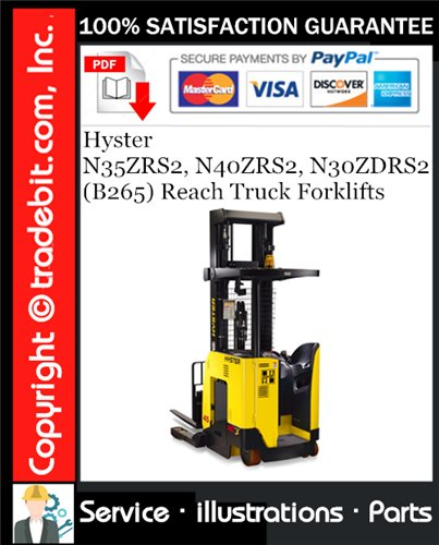 Thumbnail Hyster N35ZRS2, N40ZRS2, N30ZDRS2 (B265) Reach Truck Forklifts Parts Manual Download ★