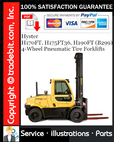 Thumbnail Hyster H170FT, H175FT36, H190FT (B299) 4-Wheel Pneumatic Tire Forklifts Parts Manual Download ★