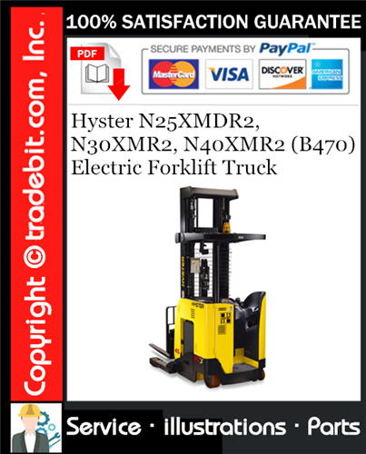 Thumbnail Hyster N25XMDR2, N30XMR2, N40XMR2 (B470) Electric Forklift Truck Parts Manual Download ★