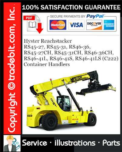 Thumbnail Hyster Reachstacker RS45-27, RS45-31, RS46-36, RS45-27CH, RS45-31CH, RS46-36CH, RS46-41L, RS46-41S, RS46-41LS (C222) Container Handlers Parts Manual Download ★