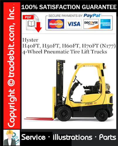 Thumbnail Hyster H40FT, H50FT, H60FT, H70FT (N177) 4-Wheel Pneumatic Tire Lift Trucks Parts Manual Download ★