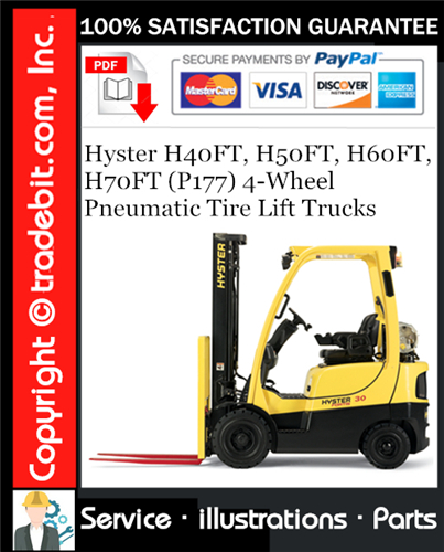 Thumbnail Hyster H40FT, H50FT, H60FT, H70FT (P177) 4-Wheel Pneumatic Tire Lift Trucks Parts Manual Download ★