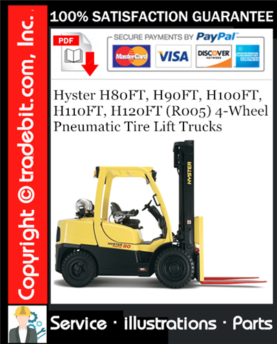 Thumbnail Hyster H80FT, H90FT, H100FT, H110FT, H120FT (R005) 4-Wheel Pneumatic Tire Lift Trucks Parts Manual Download ★