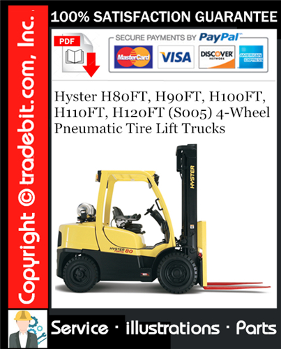Thumbnail Hyster H80FT, H90FT, H100FT, H110FT, H120FT (S005) 4-Wheel Pneumatic Tire Lift Trucks Parts Manual Download ★