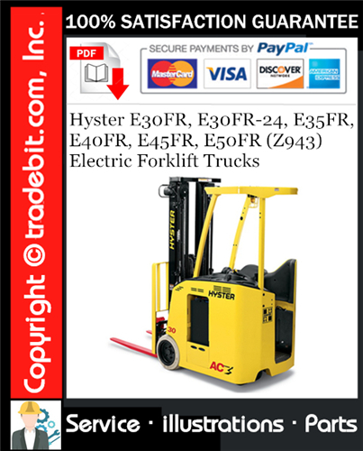 Thumbnail Hyster E30FR, E30FR-24, E35FR, E40FR, E45FR, E50FR (Z943) Electric Forklift Trucks Parts Manual Download ★
