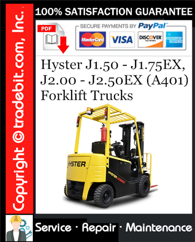 Thumbnail Hyster J1.50 - J1.75EX, J2.00 - J2.50EX (A401) Forklift Trucks Service Repair Manual Download ★