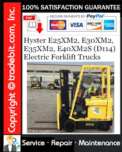 Thumbnail Hyster E25XM2, E30XM2, E35XM2, E40XM2S (D114) Electric Forklift Trucks Service Repair Manual Download ★